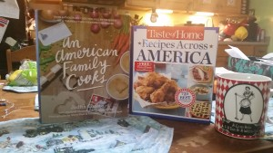 My hubby let me get these off of the clearance rack on our recent trip to Barnes & Noble. I have a thing for cookbooks. A few of my meals and side dishes this time around come from the Taste of Home Recipes Across America cookbook.